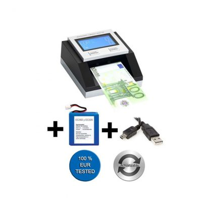 Pack Counterfeit banknote detector EC-350 EURO + Battery + USB Cable